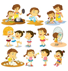 Different actions of a young girl vector image