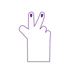 Dotted shape hand with finger sign and nails vector