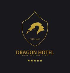 dragon hotel logo and emblem logo vector image