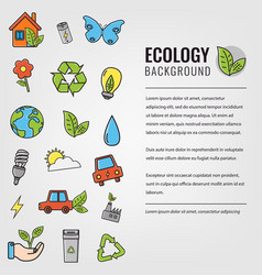 ecology and environment background ecology icons vector image