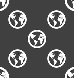 Globe icon sign Seamless pattern on a gray vector image