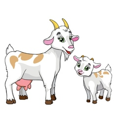 Goat and kid on white background vector