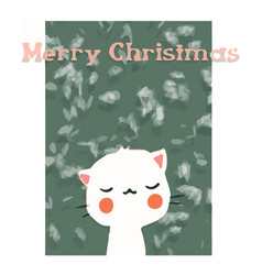 greeting card with cute cat happy smile marry vector image vector image