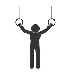 gymnastic man rings sport vector image