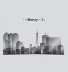 indianapolis city skyline silhouette in grayscale vector image vector image