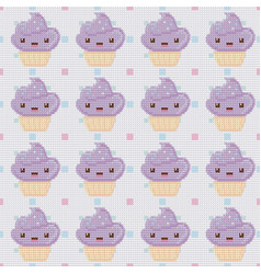 knitted seamless pattern with cupcakes on white vector image vector image