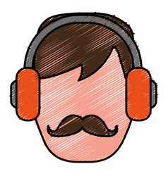 Man with headphones icon vector