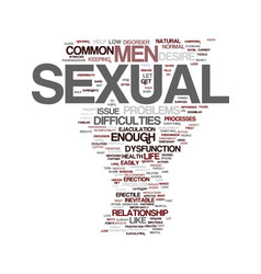 Men s sexual health problems text background word vector