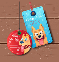 new year sale tags set with dog holiday discount vector image vector image