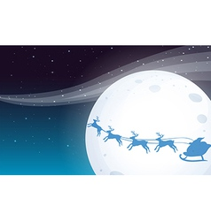 Santa travelling with his reindeers vector image vector image