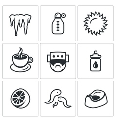Set of disease icons cooling temperature vector