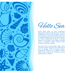 Summer background with seashell frame vector