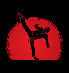 Taekwondo high kick action with guard equipment vector