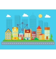 Urban and village landscape cityscape vector