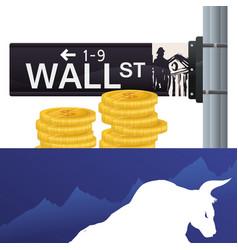 Wall street new york bull wealth vector