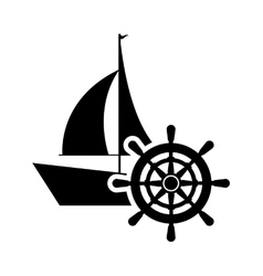 Sail boat and rudder icon vector
