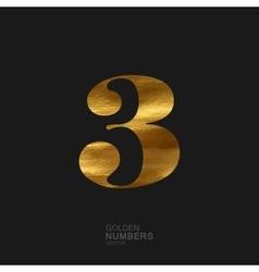 Golden number 3 vector image