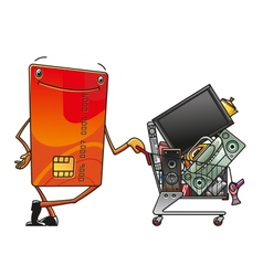 Credit card with shopping cart of electronics vector image