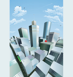 Modern cityscape of city centre financial district vector