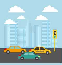City buildings cars traffic light clouds image vector