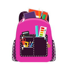 Children pink school bag pack vector