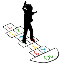 Child silhouette jumping over hopscotch vector
