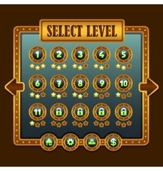 Game steampunk level selection icons vector