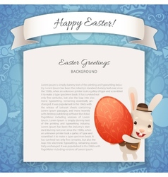 Happy easter poster with banny vector
