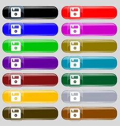 Floppy icon sign set from fourteen multi-colored vector