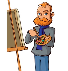 Painter with brush and palette vector