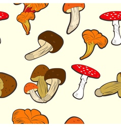 Seamless wallpaper with mushrooms vector