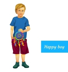 Happy boy in summer clothes with dreamcatcher vector