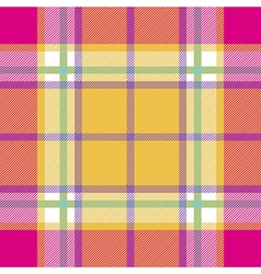 Yellow pink indian madras fabric texture seamless vector
