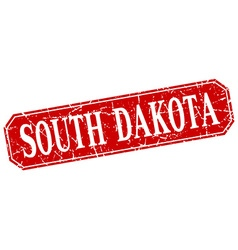 South dakota red square grunge retro style sign vector