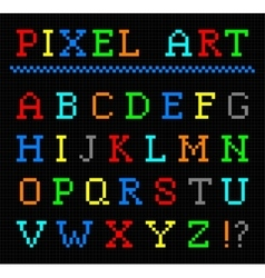 Pixel art color font set of letters vector
