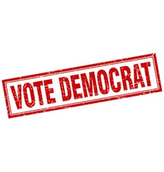 Vote democrat red square grunge stamp on white vector