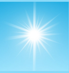 White glowing light burst sun on blue sky vector