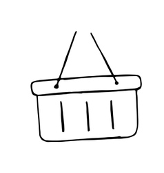 Plastic basket hand drawn doodle shopping cart vector