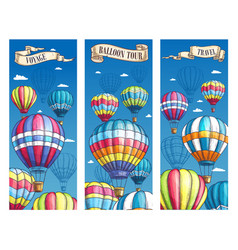 Banners for hot air balloon voyage tour vector