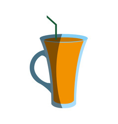 Beverage in glass with straw icon image vector