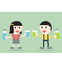 boy and girl are rinse them mouth by mouthwash vector image