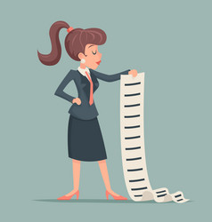 businesswoman long list work deed offer sign vector image vector image