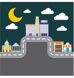 city buildings road urban street landscape night vector image