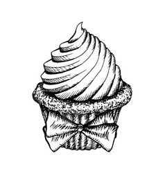 cupcake sketch icon isolated vintage cup cake vector image