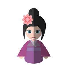 Cute girl chinese kimono sakura flower shadow vector