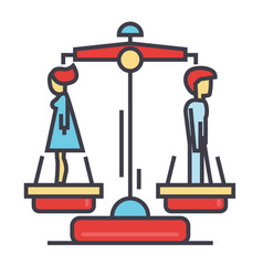 Divorce man and woman concept line icon vector
