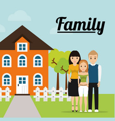 Family home tree fence image vector