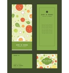 Fresh salad vertical frame pattern invitation vector