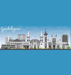 guadalajara skyline with gray buildings and blue vector image vector image