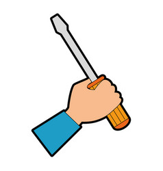 hand with screwdriver tool isolated icon vector image